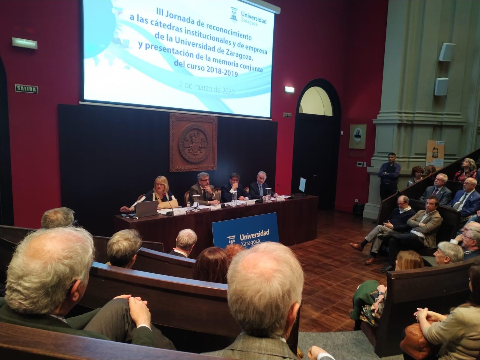 III Jornada de reconocimiento a las cátedras institucionales y de empresa de la Universidad de Zaragoza